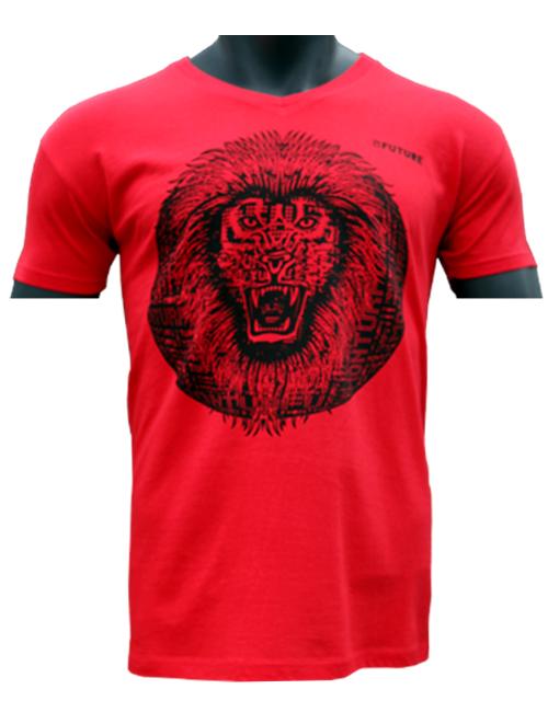 beau-T-shirt-Biologique-Lion-Roar-rouge-Marque-Myfuture-Moyen Gamme-Made-In-France-01